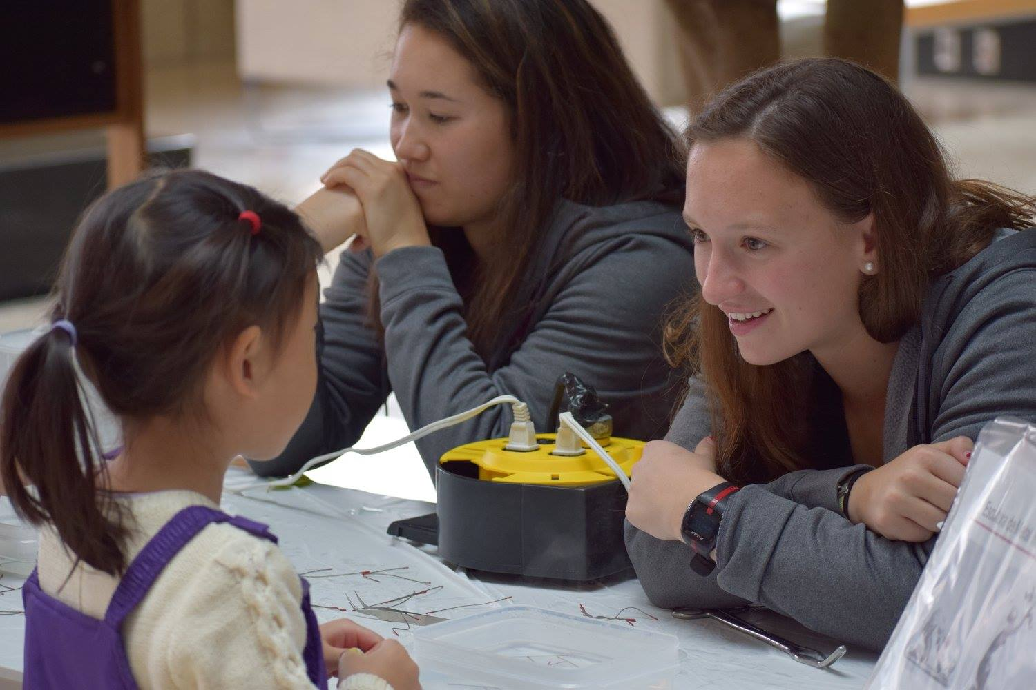 a volunteer interacts with a visitor at an outreach event