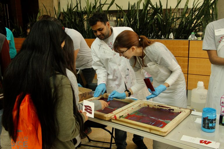MRSEC researchers screenprinting with the public