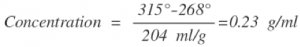 Concentration equation with measured values
