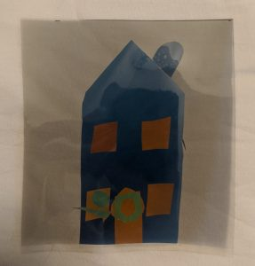 Cellophane layered to create a house when viewed through polarizers